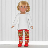 White Tunic Top and Red Stripe Leggings for18 inch Girl Dolls American Doll Clothes
