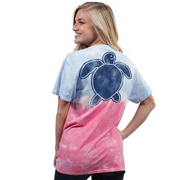 Save The Turtles Washed Tie Dye Tee by Simply Southern