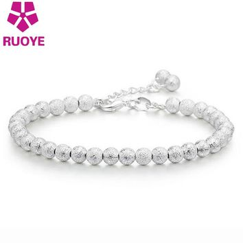 2017 New Fashion Silver Silver Plated Frosted Beads Bracelet Jewelry Adjustable Charm Bracelets For Women Jewelry