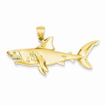 14k Yellow Gold Polished 3-D Shark Pendant