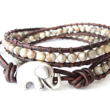 Boho chic elephant wrap bracelet with semi precious ocean fossil jasper, gift idea for best friend