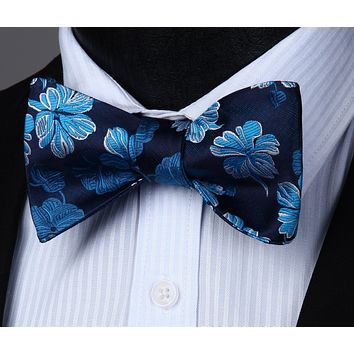 Navy Blue Flower Silk Self Bow Tie Pocket Square