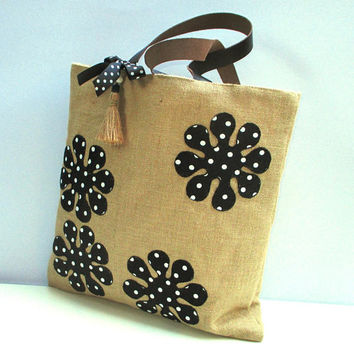 Jute bag appliqued with black white polka dotted flowers  leather straps, roomy,beach bag, handmade, summer tote bag,