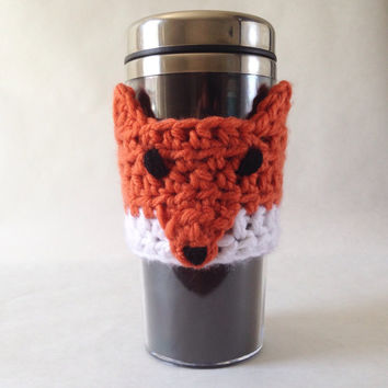 Fox Coffee Sleeve, Fox Coffee Mug Cozy, Fox Crochet Coffee Cup Sleeve, Fox Travel Mug Sleeve, Fox Coffee Cup Cozy, Fox and Coffee Lover Gift