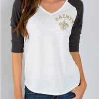 Junk Food Clothing - NFL New Orleans Saints Raglan