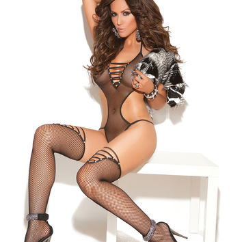 Fishnet teddy and matching stockings with rhinestone accents