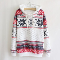 New Fashion Women Hoodie Snowflake Print Long Sleeve Pullovers Casual Sweatshirt Sportwear = 1931644932
