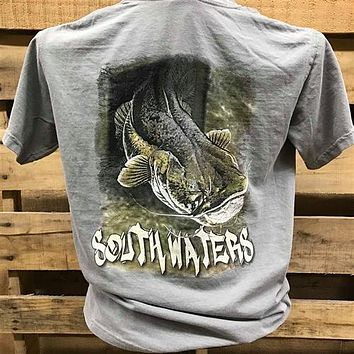 Backwoods South Waters Catfish Fishing Bright Unisex T Shirt