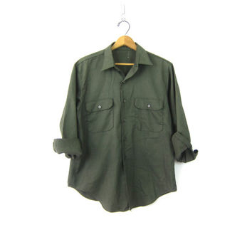 Army Green Shirt Button Up Military Style Top Button Down Work Uniform Shirt Cargo Pockets Oversize Vintage Mens Medium