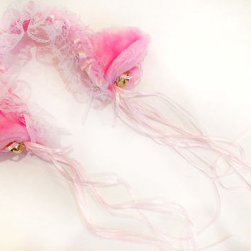 Pink Lace Bell Ears
