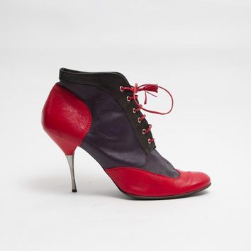 1990's Red Booties - Vintage Purple Leather High Stiletto Heel Boots Color Block Black Bow Tie Metal Ankle Shoes Size 39 EU, 8 1/2 US