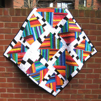 Modern Patchwork Baby Quilt - White, Black, and Rainbow Stripes