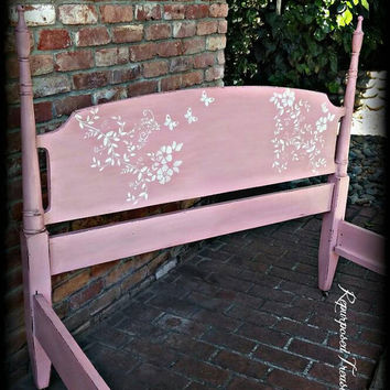 Antique twin bed frame on casters, pink twin bed, stenciled twin bed, antique twin bed, shabby chic twin bed, bed frame, 4 post twin bed