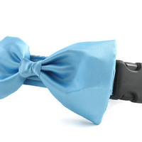 Sky Blue Bow Tie Dog Collar - Dog Bow Tie Collar - Wedding Attire for Dogs - dog wedding - sky blue satin dog bow tie - formal dog bow tie