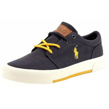Polo Ralph Lauren Boy's Faxon II Navy Canvas Fashion Sneakers Shoes