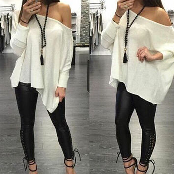 2016 Trending Fashion Loose Round Necked Sexy Erotic  T-Shirt Top
