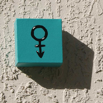 transgender acrylic paint pop art wall decor gift turquoise blue