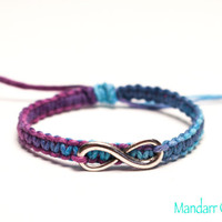 Clearance Sale - Purple Haze Infinity Charm Bracelet, Adjustable Size, Blue Purple, Multicolor Cord, Forever Always
