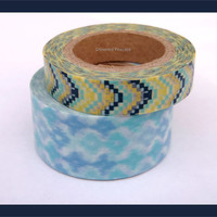 Set of 2 Aztec WASHI TAPES -   Japanese Washi Tapes, Chevron, Supplies, Crafting, Scrapbooking, Packaging