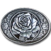 Western Rose Antiqued Belt Buckle