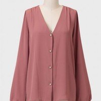 Never Settle Buttoned Blouse