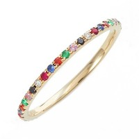 EF COLLECTION Rainbow Precious Gem Stack Ring | Nordstrom