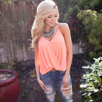Luminous Cantaloupe High Low Draped Top