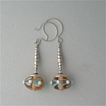 Lampwork Glass Bead Earrings Spring Fashion Rare Sterling Silver Findings