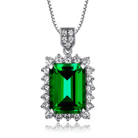 Sterling Silver 4ct Emerald Pendant Necklace