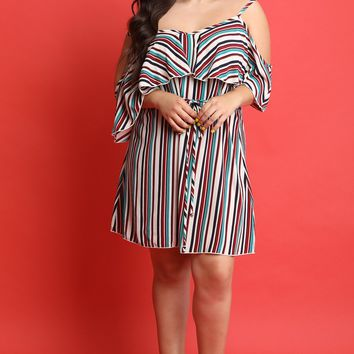 MY MALL METRO  Striped Cold Shoulder Ruffle Shift Dress  Check Homepage for Promo Codes! <
