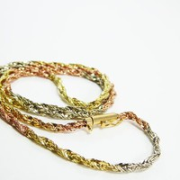 14K Black Hill Gold Necklace Tri Colored 20 Inch Twisted Rope Chain Rose Gold Yellow Gold White Gold Vintage 1980s 1990s Gold Chain Necklace