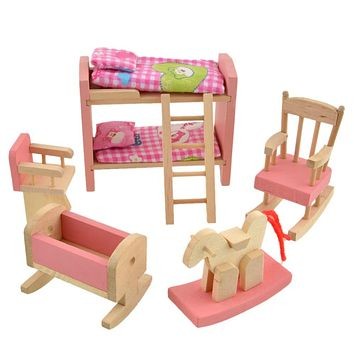 A Bed For Dolls Bathroom Furniture Bunk Bed House Wood Miniature Furniture Wooden Toys for Kids Play Toy Furniture for Dolls