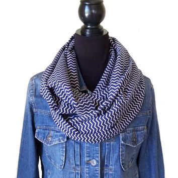 Navy Blue Flannel Infinity Scarf, Flannel Scarf, Chevron Infinity Scarf, Chevron Scarf, Zigzag Scarf