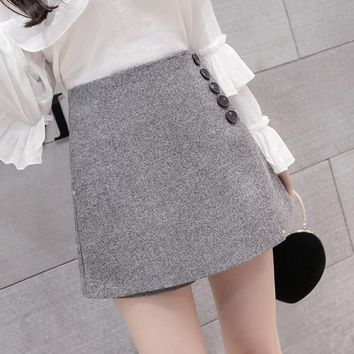 Hot Shorts 2018 New Fashion Single-breasted High Waist  Skirts Womens Spring Loose Culottes Korean Casual All-match AT_43_3