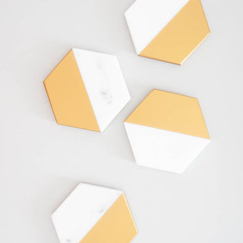 Marble + Gold Coasters