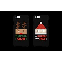 Angry Rudolph and Desperate Santa Matching Couple Phone Cases (Set)