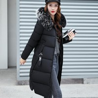 New Coats & Jackets 2017 Female Parka Hooded Winter Jacket Women Fake Raccoon Fur Collar Winter Coat Women Zipper Women's Jacket