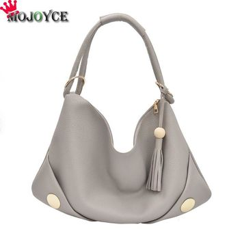 PU Leather Shoulder Bag Female Big Women Handbag Women Totes Bags Woman Hobos Tassel Casual Shoulder Bag Bolsa Feminina