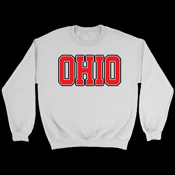 Ohio Jersey Font Red Crewneck Sweatshirt