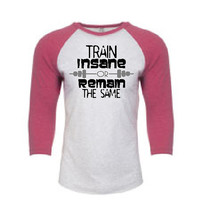 Train Insane or Remain the Same on Pink and White TRI-Blend UNISEX 3/4 RAGLAN Jersey