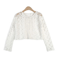 Feminine Laced Crop Cardigan
