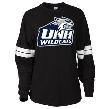 Official NCAA New Hampshire University Wildcats - PPNHM02 Women's Oversized Football Tee with Stripes