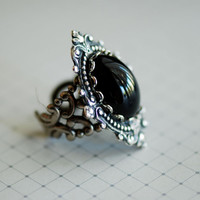 Midnight in Forks ring - VIctorian Goth Jet Swarovski Cameo - Made In USA stamping