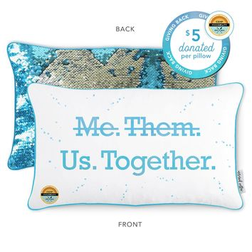 Camp Possability Mermaid Pillow with Lake Blue & Silver Reversible Sequins