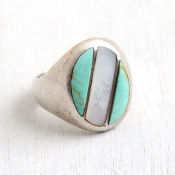 Vintage Sterling Silver Turquoise & Mother of Pearl Inlay Ring - Size 9 Retro Southwestern Native American Style Statement Jewelry