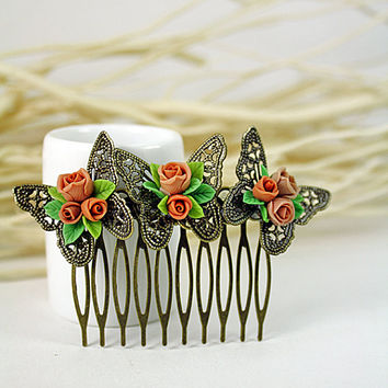 beige rose Hair Comb,butterfly, bridesmaid, hair clip, hair accessories, vintage style , polymer clay flower,gift for her