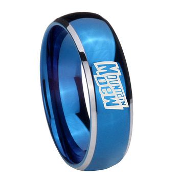 8MM Glossy Blue Dome Mountain Dew Tungsten Carbide 2 Tone Laser Engraved Ring