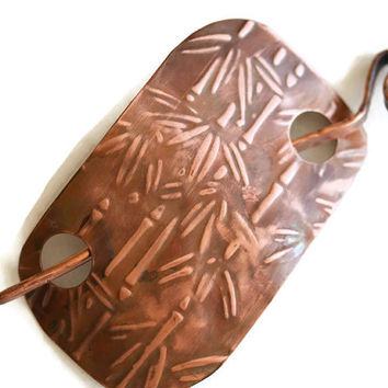 Big copper brooch, Shawl brooch, Shawl pin, Scarf brooch,emboss bamboo design, Handmade