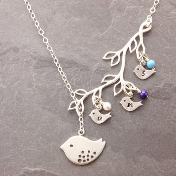 s with square mother kids necklace pendant kid birthstone charms mothers birthstones round tiny products custom teardrop