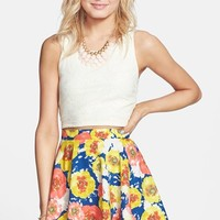 Everly Floral Print Skater Skirt (Juniors)